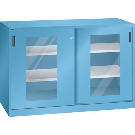 LISTA Beistellschrank mit Schiebetüren, (BxH) 1500x1000mm, 4 Verstellböden, Sichtfenster