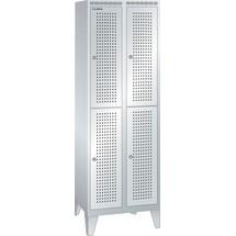 LISTA Garderobenschrank mit Lochfeld, (TxH) 500x1850mm, mit Füßen, 2-reihig