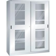 LISTA Schiebetürschrank, (BxTxH) 1500x400x1950mm, 8 Verstellböden, Sichtfenster