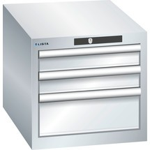 LISTA Schubladenschrank 18x27E, (BxTxH) 411x572x383mm, 3 Schubladen, 2 x 75 / 1 x 150