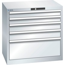 LISTA Schubladenschrank 36x27E, (BxTxH) 717x572x700mm, 5 Schubladen, 2 x 75 / 2 x 100 / 1 x 250