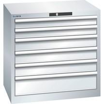 LISTA Schubladenschrank 36x27E, (BxTxH) 717x572x700mm, 6 Schubladen, 2 x 75 / 3 x 100 / 1 x 150