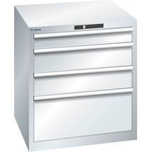 LISTA Schubladenschrank 36x36E, (BxTxH) 717x725x800mm, 4 Schubladen, 1 x 100 / 2 x 150 / 1 x 300
