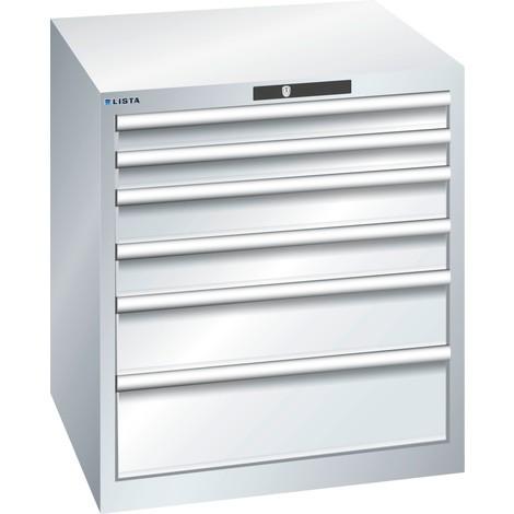 LISTA Schubladenschrank 36x36E, (BxTxH) 717x725x800mm, 6 Schubladen, Fronthöhen 75-200mm