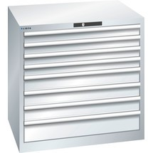 LISTA Schubladenschrank 45x36E, (BxTxH) 870x725x850mm, 8 Schubladen, 4 x 75 / 3 x 100 / 1 x 150