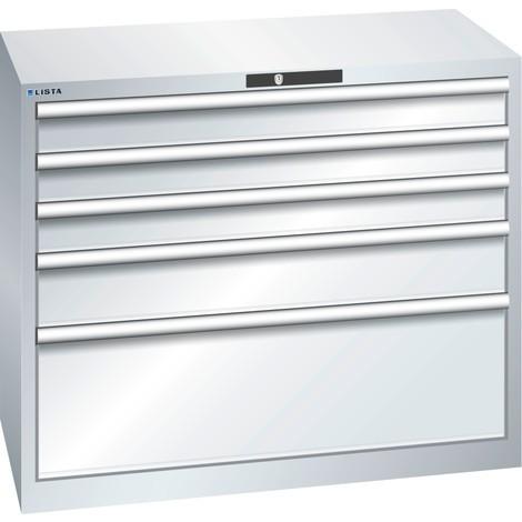 LISTA Schubladenschrank 54x27E, (BxTxH) 1023x572x850mm, 5 Schubladen, 3 x 100 / 1 x 150 / 1 x 300