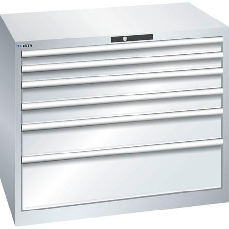LISTA Schubladenschrank 54x36E, (BxTxH) 1023x725x850mm, 6 Schubladen, Fronthöhen 75-250mm