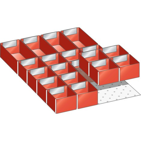 LISTA Set Einsatzkästen 18x27E, (BxTxFH) 306x459x50mm, 20-teilig
