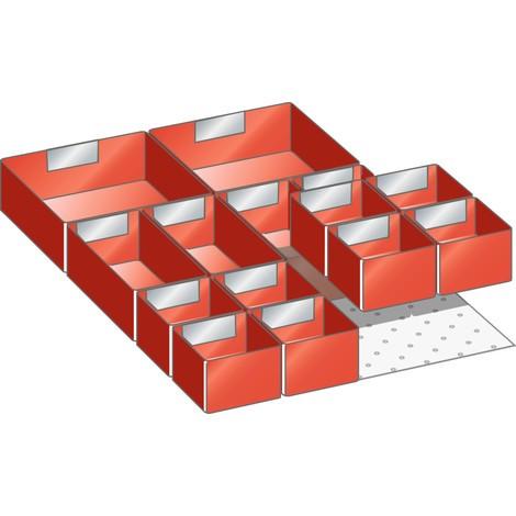 LISTA Set Einsatzkästen 18x27E, (BxTxFH) 306x459x75mm, 14-teilig