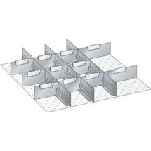 LISTA Set Schlitzwände und Trennbleche 27x27E, (BxTxFH) 459x459x50mm, 3 Schlitzwände, 11 Trennbleche