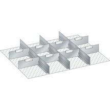 LISTA Set Schlitzwände und Trennbleche 36x27E, (BxTxFH) 612x459x75mm, 3 Schlitzwände, 8 Trennbleche