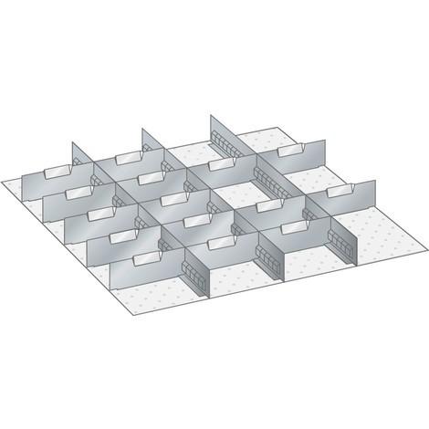 LISTA Set Schlitzwände und Trennbleche 36x36E, (BxTxFH) 612x612x250mm, 3 Schlitzwände, 15 Trennbleche