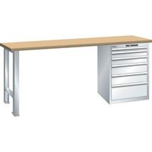 LISTA Werkbank 27x27E, (BxTxH) 1500x700x890mm, Multiplex, 6 Schubladen