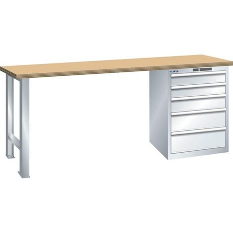 LISTA Werkbank 27x36E, (BxTxH) 2000x750x890mm, Multiplex, 5 Schubladen