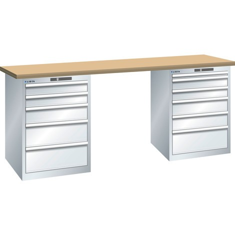 LISTA Werkbank 27x36E, (BxTxH) 2000x750x890mm, Multiplex, 5+6 Schubladen