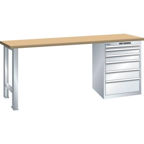 LISTA Werkbank 27x36E, (BxTxH) 2000x750x890mm, Multiplex, 6 Schubladen