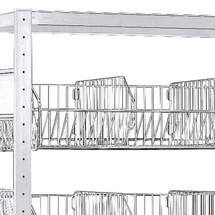 Livello di cesti per scaffalatura a ripiani SCHULTE, con cesti a maglia grossa