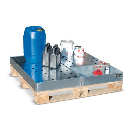 Lochblechrost für Auffangwanne aus Stahl für Kleingebinde für Paletten