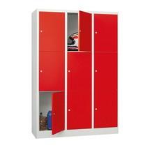 Locker, 6 vakken, 3 rijen, compartimentbreedte 400 mm