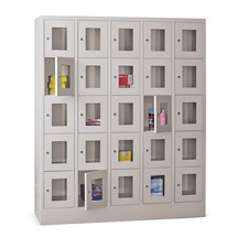 Locker PAVOY met kijkvenster, 5 x 5 vakken, hxbxd 1.850 x 1.530 x 500 mm
