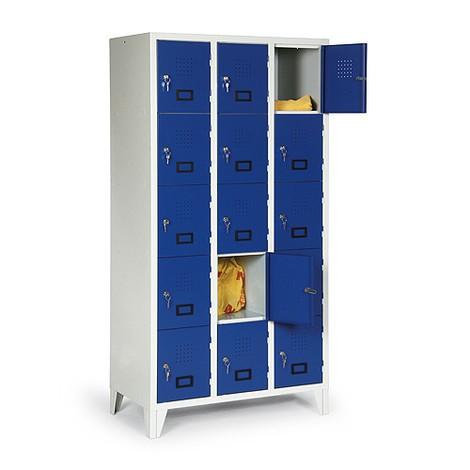 Locker Portofino met ventilatiegaten, 3 x 5 vakken, hxbxd 1.800 x 907 x 500 mm, met poten