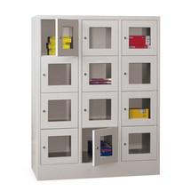 Lockers met zichtvenster PAVOY ® met 3 x 4 vakken, breedte 1230 mm