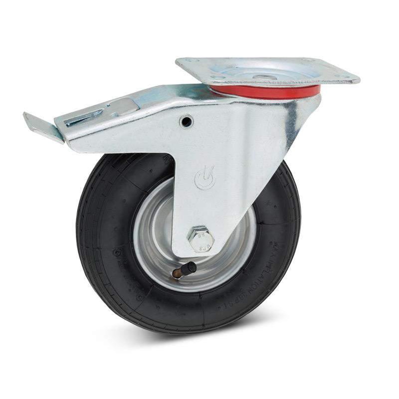 Luftbereifte Lenkrolle mit Feststeller, Stahlblechfelge, Tragkraft 75 - 200 kg