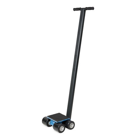 Machine moving dolly skate, steerable, long handle, BASIC