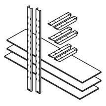 Magazijnstelling, legborden voor materialencontainer