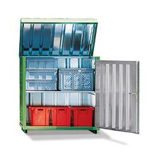 Magazinboxen aus verzinktem Profilblech mit hochklappbarem Dach