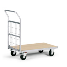 Magazinwagen mit Holzplattform + 1 Gitterwand. Tragkraft 200kg