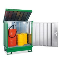 Magazyn materiał niebezpiecznych, ocynkowany i malowany, 4x 200 litrów, wys. x szer. 1,610 x 1,420 x 1,490 mm