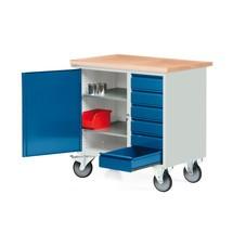 Mały kompaktowy ława warsztatowa z skrzydłami+szuflady, mobilny