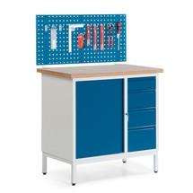 Mały kompaktowy stół warsztatowy z szafką dwudrzwiową, szufladami i ścianką wielozadaniową, wersja stacjonarna