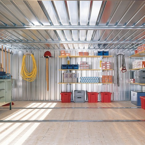 Materialcontainer Kombination, 2 Module, HxBxT 2.150 x 4.050 x 4.340 mm, vormontiert, Holzfußboden, lackiert
