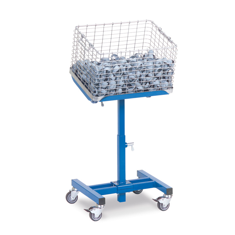 Materialständer fetra® neigbar mit Rollen. Tragkraft 150kg, Höhe 50-77cm