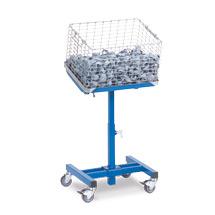 Materialständer fetra® neigbar mit Rollen. Tragkraft 150kg, Höhe 75-110cm