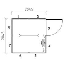 Mehrzweckraum für Innen, LxBxH 2045x2045x2680mm, 1050kg