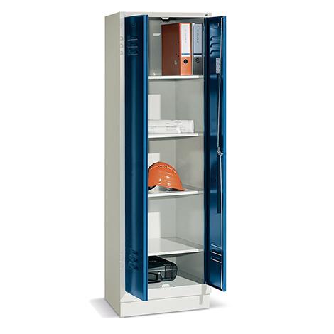 Mehrzweckschrank ohne Trennwand mit Füßen + Zylinderschloss, Breite 610 mm