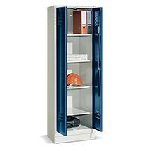 Mehrzweckschrank ohne Trennwand mit Sockel + Zylinderschloss, Breite 610 mm