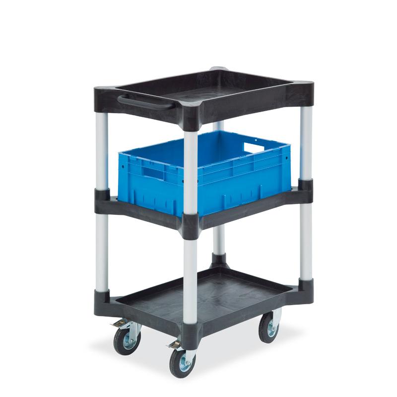 Mehrzweckwagen mit 1 Wanne + 2 Ablagen aus Polyethylen. Höhe 101,9 cm