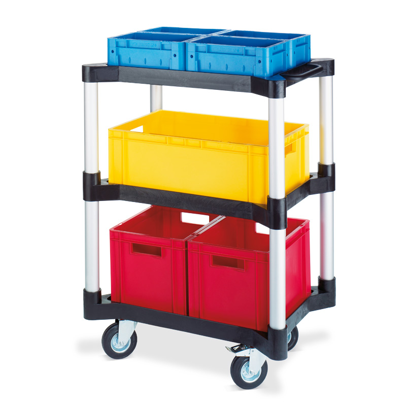Mehrzweckwagen mit 3 Ablagen aus Polyethylen. Höhe 101,9 cm