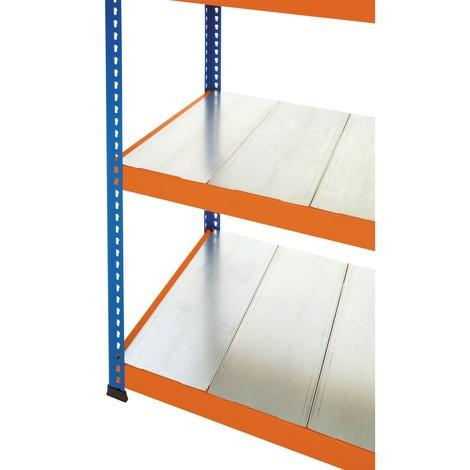 mellembund til bred-span rack SCHULTE, med stål plader