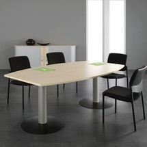 Mesa de conferencia en forma de barril, con base de placa
