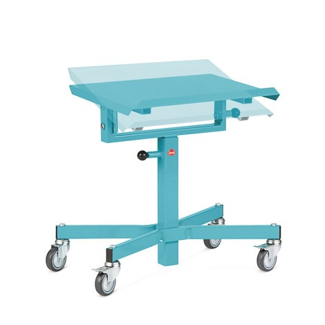 Mesa de trabajo móvil Ameise®, de altura ajustable manualmente e inclinable