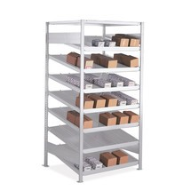 META drive-through rack base unit, single-sided, with shelves