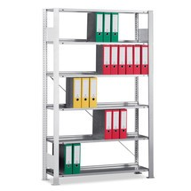 META filing shelf add-on unit, single-sided, with top shelf, shelf load 80 kg, light grey