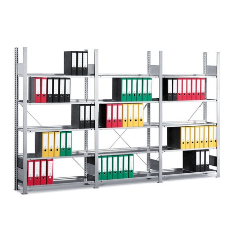 META filing shelf add-on unit, single-sided, without top shelf, shelf load 80 kg, galvanised