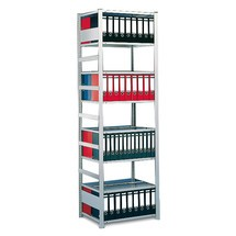 META filing shelf base unit, double-sided, with top shelf, shelf load 80 kg, light grey