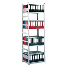 META filing shelf base unit, double-sided, without top shelf, shelf load 80 kg, light grey